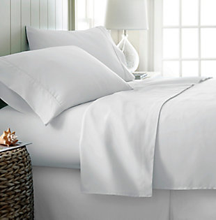 4 Piece Premium Ultra Soft Queen Bed Sheet Set, White, rollover