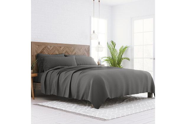 6 Piece Luxury Ultra Soft Full Bed Sheet Set, Gray, large