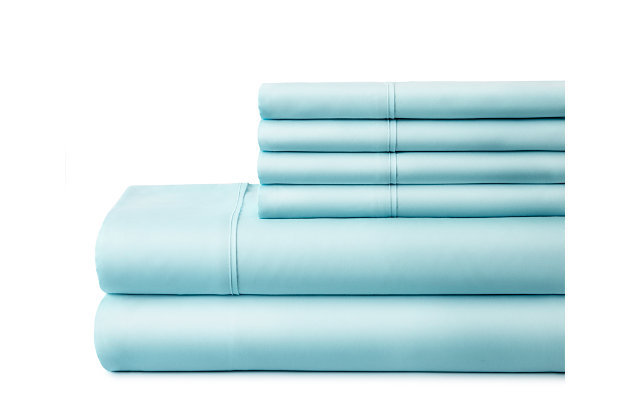 6 Piece Luxury Ultra Soft Twin Bed Sheet Set, Aqua, large