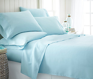6 Piece Luxury Ultra Soft Twin Sheet Set, Aqua, rollover