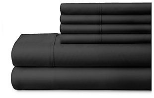 6 Piece Luxury Ultra Soft Twin Bed Sheet Set, Black, large