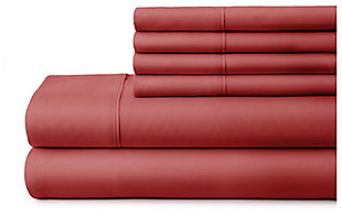 6 Piece Luxury Ultra Soft Twin Bed Sheet Set, Burgundy, large