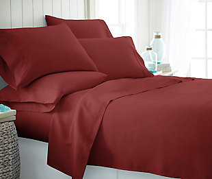6 Piece Luxury Ultra Soft Twin Bed Sheet Set, Burgundy, rollover
