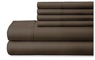 6 Piece Luxury Ultra Soft Twin Bed Sheet Set, Chocolate, large
