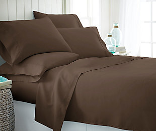 6 Piece Luxury Ultra Soft Twin Bed Sheet Set, Chocolate, rollover