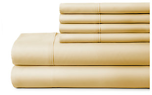 6 Piece Luxury Ultra Soft Twin Bed Sheet Set, Gold, large