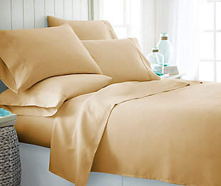 6 Piece Luxury Ultra Soft Twin Sheet Set, Gold, rollover