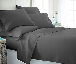 6 Piece Luxury Ultra Soft Twin Bed Sheet Set, Gray, rollover