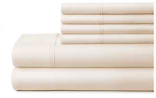 6 Piece Luxury Ultra Soft Twin Bed Sheet Set, Ivory, large