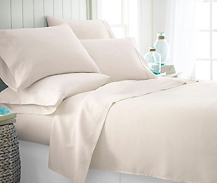 6 Piece Luxury Ultra Soft Twin Sheet Set, Ivory, rollover