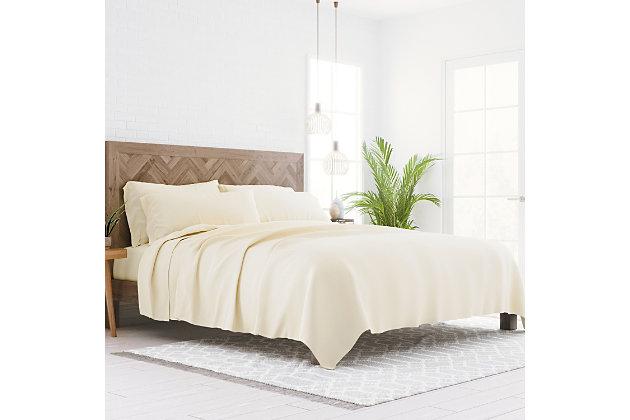 3 Piece Luxury Ultra Soft Twin Sheet Set, Ivory, large