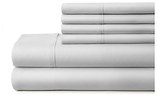 6 Piece Luxury Ultra Soft Twin Bed Sheet Set, Light Gray, large