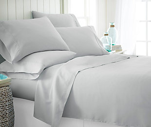 6 Piece Luxury Ultra Soft Twin Bed Sheet Set, Light Gray, rollover