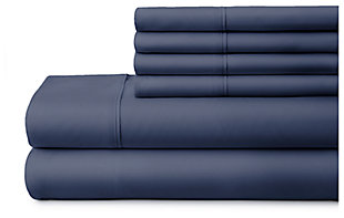 6 Piece Luxury Ultra Soft Twin Bed Sheet Set, Navy, large