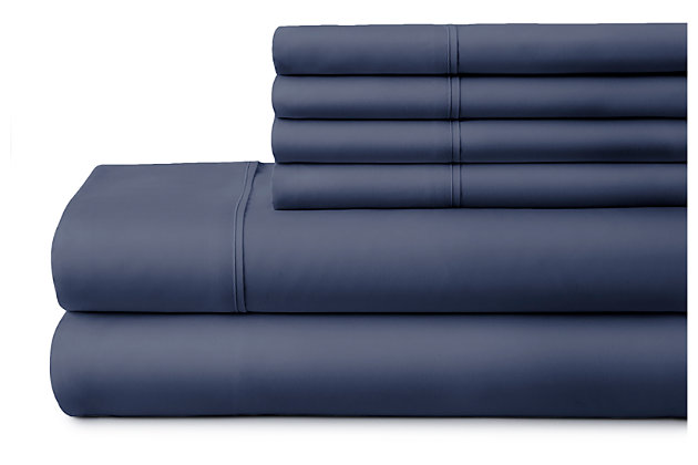 6 Piece Luxury Ultra Soft California King Bed Sheet Set, Navy, large