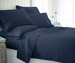 3 Piece Luxury Ultra Soft Twin Sheet Set, Navy, rollover