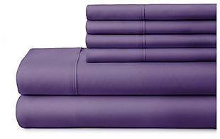 6 Piece Luxury Ultra Soft Twin Bed Sheet Set, Purple, large