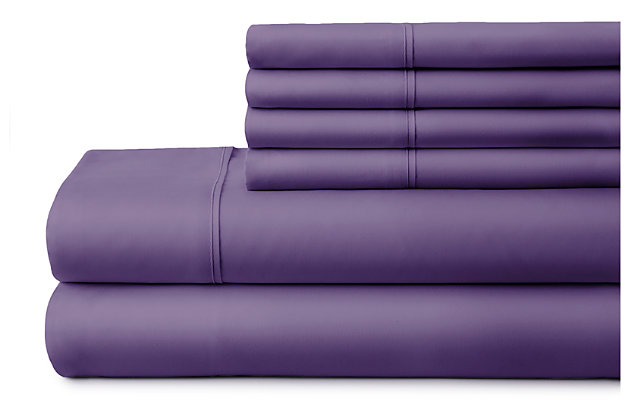 6 Piece Luxury Ultra Soft California King Bed Sheet Set, Purple, large
