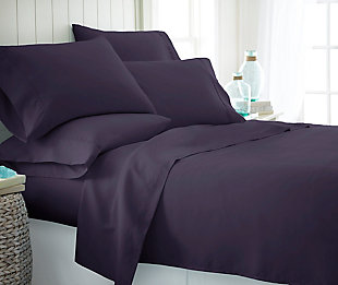 6 Piece Luxury Ultra Soft Twin Bed Sheet Set, Purple, rollover
