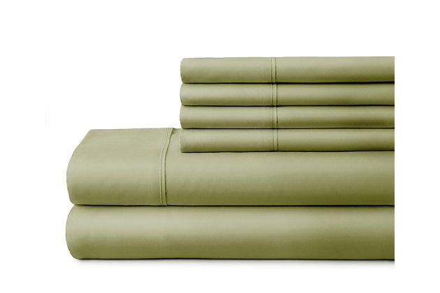 6 Piece Luxury Ultra Soft Twin Bed Sheet Set, Sage, large