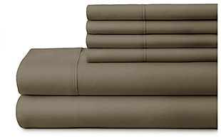 6 Piece Luxury Ultra Soft Twin Bed Sheet Set, Taupe, large
