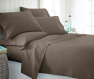 6 Piece Luxury Ultra Soft Twin Bed Sheet Set, Taupe, rollover