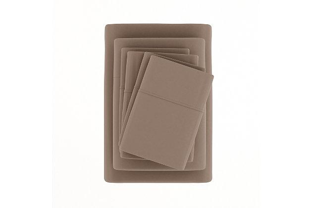 3 Piece Luxury Ultra Soft Twin Sheet Set, Taupe, large
