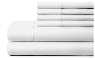6 Piece Luxury Ultra Soft Twin Bed Sheet Set, White, large
