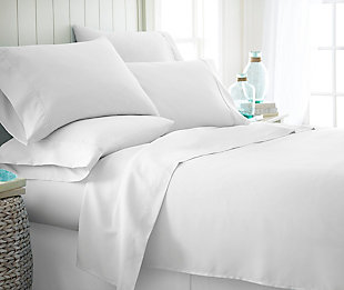 6 Piece Luxury Ultra Soft Twin Bed Sheet Set, White, rollover
