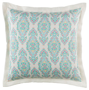 Transitional Euro Sham, Aqua/Bright Pink/White, large