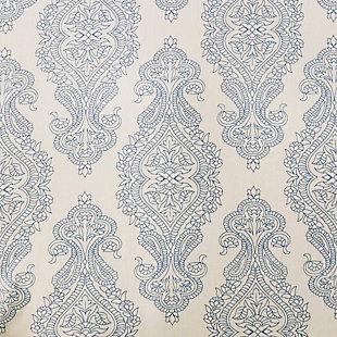 Transitional 2 Piece Twin Duvet Bedding Set, Dark Blue/Ivory, rollover