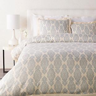 Transitional 2 Piece Twin Duvet Bedding Set, Dark Blue/Ivory, large