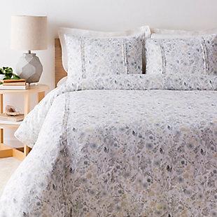 Watercolor Design 2 Piece Twin Duvet Bedding Set, White/Sea Foam/Sage, large