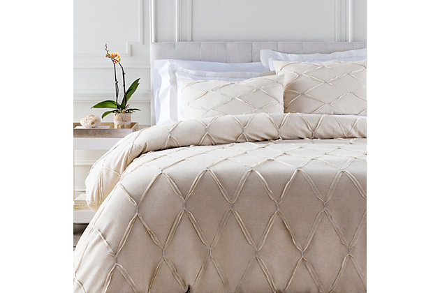 Metalic Threading 3 Piece Full/Queen Duvet Bedding Set, Light Gray/Metallic, large