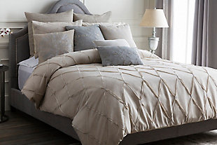 Metalic Threading 2 Piece Twin Duvet Bedding Set, Light Gray/Metallic, rollover
