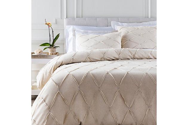 Metalic Threading 2 Piece Twin Duvet Bedding Set, Light Gray/Metallic, large