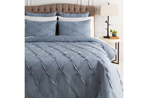 Metalic Threading 3 Piece Full/Queen Duvet Bedding Set, Denim, large