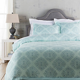Transitional 2 Piece Twin Duvet Bedding Set, Ice Blue/Sage, large