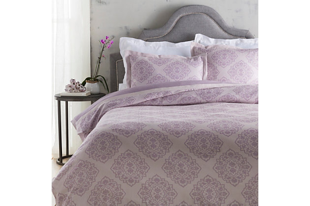 Transitional 3 Piece Full/Queen Duvet Bedding Set, Lilac/Mauve, large