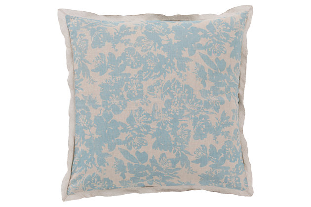 Floral Pattern Euro Sham, Sage/Light Gray, large