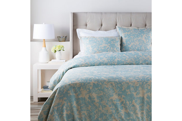 Floral Pattern 2 Piece Twin Duvet Bedding Set, Sage/Light Gray, large