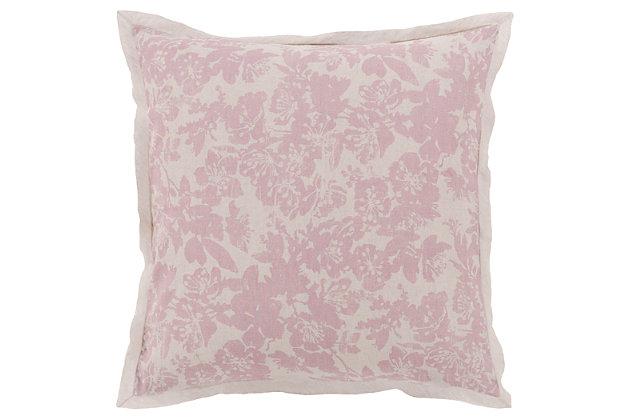 Floral Pattern Euro Sham, Rose/Light Gray, large
