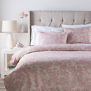 Floral Pattern 3 Piece Full/Queen Duvet Bedding Set, Rose/Light Gray, large