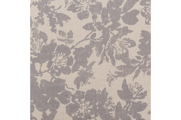 Floral Pattern Euro Sham, Light Gray/Medium Gray, large