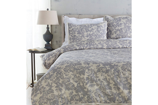 Floral Pattern 3 Piece Full/Queen Duvet Bedding Set, Light Gray/Medium Gray, large