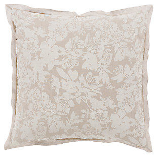 Floral Pattern Euro Sham, Light Gray/White, large