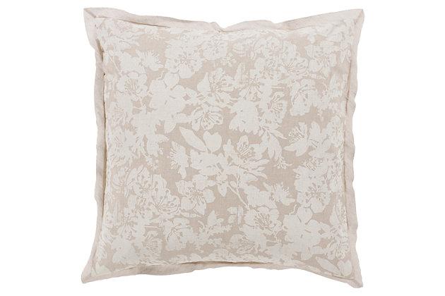 Floral Pattern Euro Sham, Light Gray/White, large