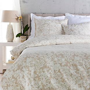 Floral Pattern 3 Piece Full/Queen Duvet Bedding Set, Light Gray/White, large
