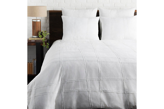 Textured Cotton 3 Piece Full/Queen Duvet Bedding Set, White, large