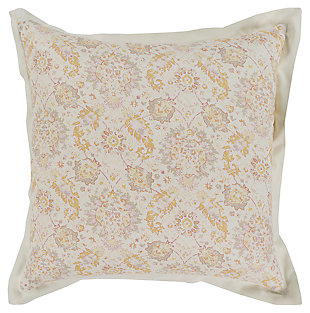 Botanical Euro Sham, Rose/Light Gray/Mustard, large